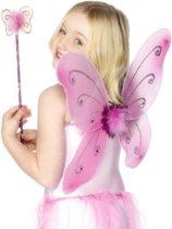 Roze vlinderset voor meisjes - Verkleedattribuut