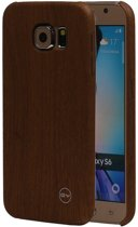 Bruin Hout QY TPU Cover Case voor Samsung Galaxy S6 Hoesje