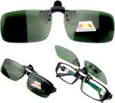 Clip On Voorzet Zonnebril - Rechthoek Model - Donkergroen - Maak van je gewone bril een zonnebril