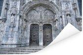 Ingang van het Mosteiro dos Jerónimos in Lissabon Poster 120x80 cm - Foto print op Poster (wanddecoratie woonkamer / slaapkamer)