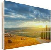 Toscaanse landschap tijdens een zonsopgang Vurenhout met planken 120x80 cm - Foto print op Hout (Wanddecoratie)