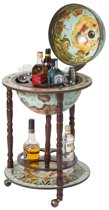 Brulo Leichhardt Wereldbol Globebar - ⌀ 36 cm - Beige, bruin - 4 flessen
