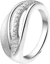 The Jewelry Collection Ring Gescratcht Zirkonia Poli/mat - Zilver