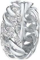 Lucardi - Stalen ring gourmet schakel met kristal