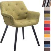 Clp Luxueuze bezoekersstoel CASSIDY club stoel, beklede eetkamerstoel met armleuning, belastbaar tot 150 kg - groen houten onderstel kleur zwart