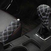 2 STKS Auto Handrem Cover Pookknop Gear Stick Kussen Sets Cover Auto Accessoire Interieur Pad (Wit)