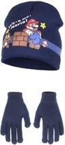 Navy Its Mario winterset voor kinderen 52 cm - Super Mario Muts en Handschoenen