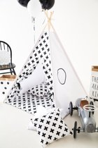 Tipi Tent - Speeltent - Tent -Wigwam - Wit met Zwart Kruis patroon - Inclusief Speelmat & Kussensloop