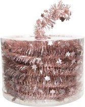 Oud roze kerstversiering folie slinger met ster 700 cm
