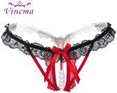 Erotische Lingerie Slipje | Sexy Parel Slipje | Sexy Kanten Open Kruis String | Zwart/Rood