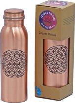 ProYoga - Koperen drinkfles - Bloem des Levens - 750 ml - Duurzaam drinken - Roestvrij - Met schroefdop - Drinkflessen - Waterfles - Drinkfles koper - Koperen beker