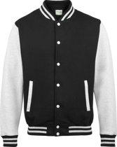 AWDis Varsity jacket, Jet Black/Heather Grey, Maat XXL