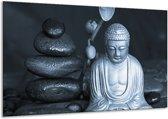 Schilderij | Canvas Schilderij Boeddha, Stenen | Blauw, Grijs, Zwart | 120x70cm 1Luik | Foto print op Canvas