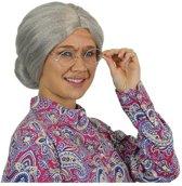 Witbaard - Pruik - Oma - Met knot - Luxe - Grijs