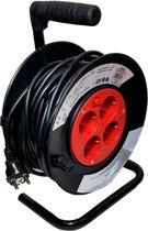 Kabelbox 15 meter verlengsnoer kabelhaspel kabel verleng haspel met 4 geaarde stopcontacten
