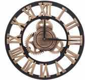 Dieux® - Handgemaakte Grote XL wandklok - Muurklok - Decoratieve retro 3D - Romeinse Cijfers - Tandwiel - XXL klok - Brons / Steampunk