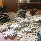 Tafelversiering Houten Sneeuwvlokken - Kerstversiering - 100 stuks
