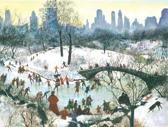 Skating in Central Park Boxed Holiday Full Notecards