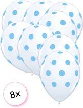 8 Ballonnen Dots Transparant/Blauw