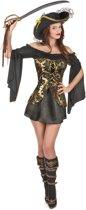 Zwart-geel piraten kostuum voor vrouwen  - Verkleedkleding - M/L