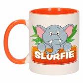 1x Slurfie beker / mok - oranje met wit - 300 ml keramiek - olifanten bekers