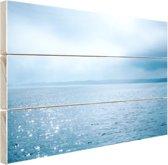 Zonlicht weerspiegelt op de zee Hout 30x20 cm - Foto print op Hout (Wanddecoratie)