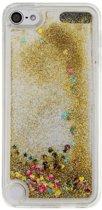 GadgetBay Doorzichtig hoesje iPod Touch 5 6 goud glitter bewegend cover