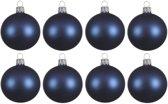 8x Donkerblauwe glazen kerstballen 10 cm - Mat/matte - Kerstboomversiering donkerblauw