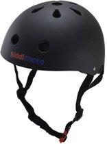 Kiddimoto - Matte Zwart - Medium - Geschikt voor 4-10jarige of hoofdomtrek van 53 tot 58 cm - Skatehelm - Fietshelm - Kinderhelm - Mooie helm