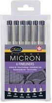 4x Sakura Fineliner Pigma Micron zwart 6 stuks