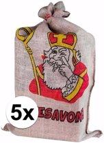 Sinterklaas - 5x Sinterklaas zak van jute - 60 x 102 cm - Pakjesavond zakken
