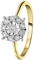 Lucardi - Diamond Luxury - 14 Karaat geelgouden ring met diamant 0,10ct