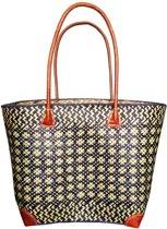 Damestas rieten strandtas blauw/naturel 39 cm - Dames handtassen - Shopper - Boodschappentassen