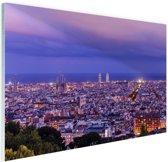 Barcelona skyline bij schemering Glas 120x80 cm - Foto print op Glas (Plexiglas wanddecoratie)