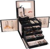 XXL Luxe Sieradenbox Met Spiegel - Sieradendoos - Bijouteriedoos Opbergbox - Juwelen Opbergdoos - PU Leder Zwart