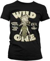 Betty Boop - MC Club dames T-shirt zwart - Merchandise cartoon televisie stripfiguur - M - Hybris