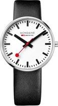 Mondaine Giant MSX.4211B.LB Horloge - Leer - Zwart - Ø42 mm