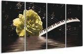 Glasschilderij Roos   Groen, Zwart, Wit   160x80cm 4Luik   Foto print op Glas    F002595