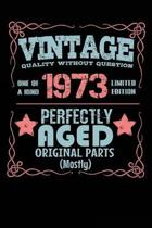Vintage Quality Without Question One of a Kind 1973 Limited Edition Perfectly Aged Original Parts Mostly: Blank Lined Journal - 6x9 Birthday Journal,