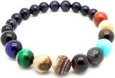 Armband - kralen - 1 snoer - diverse kleuren natuursteen - planeet - Sorprese - 20 cm - elastisch - model R