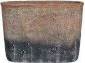 Mica Decorations Lucas ovalen pot grijs maat in cm: 45 x 17,5 x 32