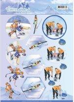 3D Knipvel - Jeanine's Art - Wintersports - ijshocSleutel