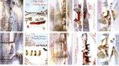 50 Luxe Kerst- en Nieuwjaarskaarten - 9,5x14cm  - 10 x 5 dubbele kaarten met enveloppen - serie Traditioneel