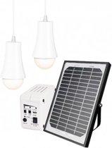 Solarset ASL-100  Incl. accu, Met 2 lampen - Geen 220v nodig tbv schuur of overkapping - Solar verlichting