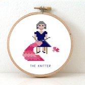 Borduurpakket knitter - vrouwlijke versie| Modern borduurpakket voor volwassenen | Inclusief borduurring DMC borduurgaren borduurnaald AIDA borduurstof.
