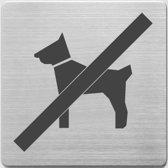pictogram Alco RVS 90x90x1mm - hond niet toegestaan -