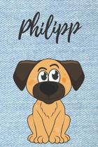 Philipp Hunde-Notizbuch / Malbuch / Tagebuch: Individuelles personalisiertes blanko Jungen & M�nner Namen Notizbuch, blanko DIN A5 Seiten. Ideal als U