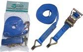Topprotect Spanband blauw - 35mm - met ratelgesp en haken - 6m