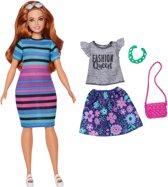 Barbie Fashionistas Met Kleurig Gestreepte Jurk - Barbiepop