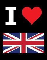 I Love United Kingdom - 100 Page Blank Notebook - Unlined White Paper, Black Cover